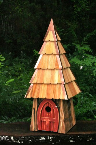 Storybook Hobbit Bird House with Redwood Stained Door, Handcrafted in the USA (Birdhouse Cypress Redwood)