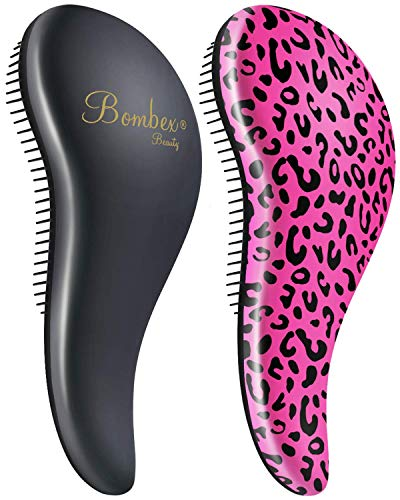 BOMBEX Detangler Brush-2 pack - No Tangles & Knots, Best Detangling Hair Brush for Tangled Hair,Pink Leopard & Matte Black (Best Hair Products For Tangled Hair)