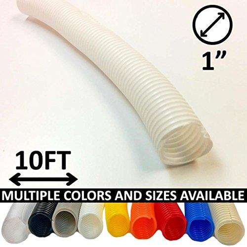 Electriduct 1 Split Wire Loom Tubing Polyethylene Flexible Conduit (1 Inch ID) - White - 10 Feet