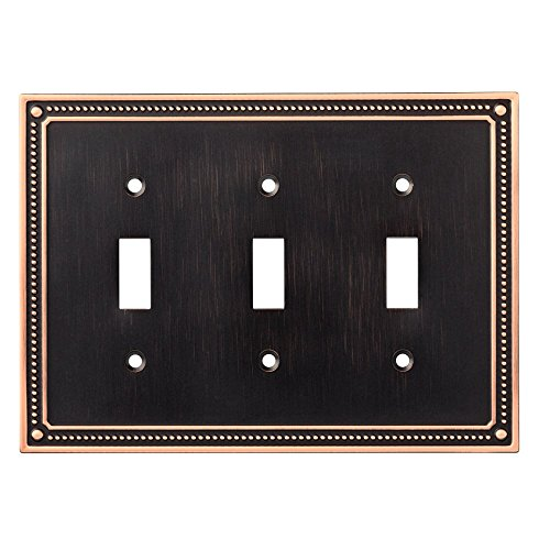 - Franklin Brass W35066-VBC-C Classic Beaded Triple Toggle Switch Wall Plate / Switch Plate / Cover, Bronze with Copper Highlights