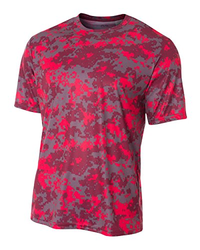 A4 Men's Camo Performance Tee, Scarlet, 4X-Large