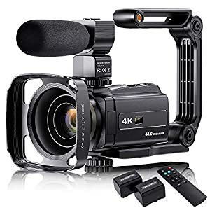 """Flashandfocus.com 51OjPaQLw3L._SS300_ 4K Video Camera Camcorder with Microphone, VAFOTON 48MP Vlogging Camera for YouTube 16X Zoom 3.0"""" Touch Screen IR Night Vision Wi-Fi Vlog Cameras Webcam with Handheld Stabilizer Remote Control"""