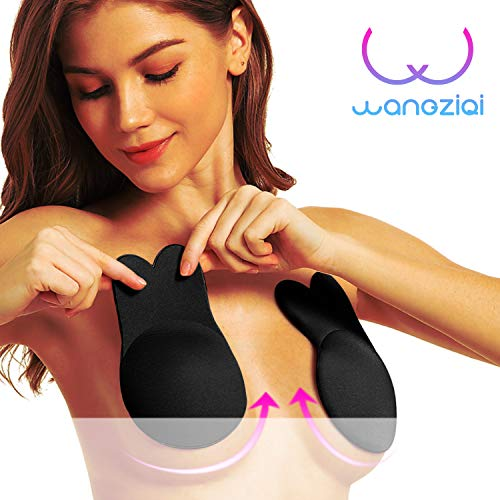 Strapless Bra Sticky Adhesive Invisible Push up Bra for Backless or Strapless Dresses,Tops etc. (Black, A/B Cup)