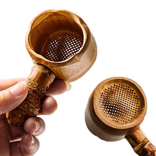 ZOOMY Juego de te Kung Fu de Filtro de te Chino Reutilizable Fuga de te de raiz de bambu Viejo Natural - Color primario