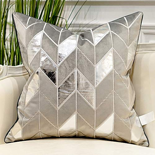 Avigers 18 x 18 Inches Grey Silver Striped Cushion Cases Luxury European Throw Pillow Covers Decorative Pillows for Couch Living Room Bedroom Car (Cushions Grey Silver)