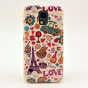SHOUJIKE Love Eiffel Tower Pattern TPU Soft Case Cover for Samsung Galaxy S5 I9600