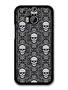 Black and White Skull Gothic Pattern with Livery Grunge Hipster case for HTC One M8