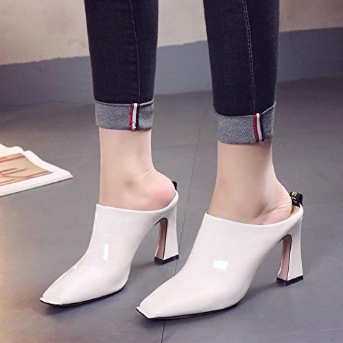 con scarpe dello white della spessore molla scarpe Heeled Qingchunhuangtang estivi metà Indossare sandali con High pantofole e zaYBxIxwq
