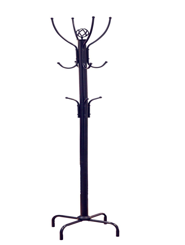 Metal Coat Rack Hat Jacket Stand Tree Holder Hanger Hall Umbrella Holder Hooks Organizer Black