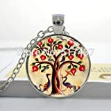 Pretty Lee Tree Of Life Necklace Birds And Pomegranate Fruit Tree Nature Art Pendant Glass Dome Necklace
