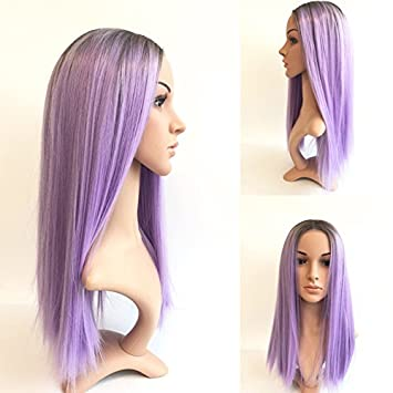 Morningwigs purple lace front wigs 16 inches straight style High temperature resistance synthetic ombre wigs for