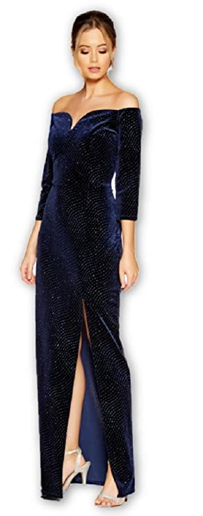 073a08ed Quiz 50 Ex Navy Velvet Glitter Bardot Maxi Split Leg Party Dress Sizes 8-18:  Amazon.co.uk: Clothing