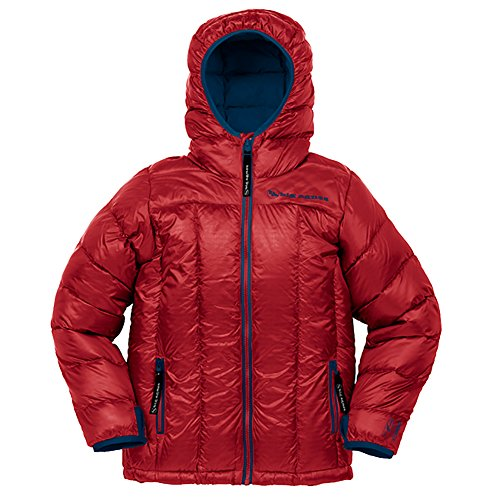 Big Agnes Kid's Insulated Ice House Hoodie, Red/Navy, (The House Snowboard Jackets)
