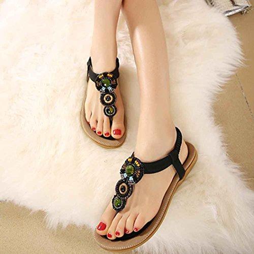 Sandalias para Mujer, RETUROM Moda de las mujeres dulces con cuentas Toe Flats Bohemian Sandals Negro