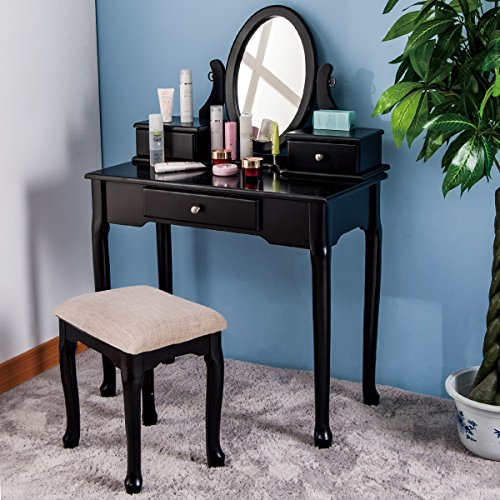 Merax Vanity Table Set with Stool Dressing Table Set Solid Makeup Table with 3 Drawers and Mirror (Black)