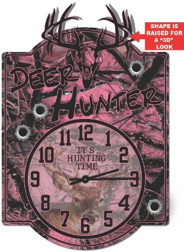 Deer Hunter Pink Camo Hardboard clock sign from Redeye Laserworks
