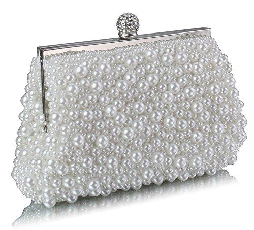 TrendStar - Bolso de mano para mujer, diseño con cuentas de cristal - Blanche 1