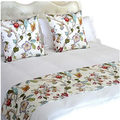 (YIH Bed Runners for King Size Bed, White Floral Bedroom Bedding Decor for Hotel Guesthouse Protector Slip Cover for Pets, 1 Bed Runner + 2 Cushion Covers 102