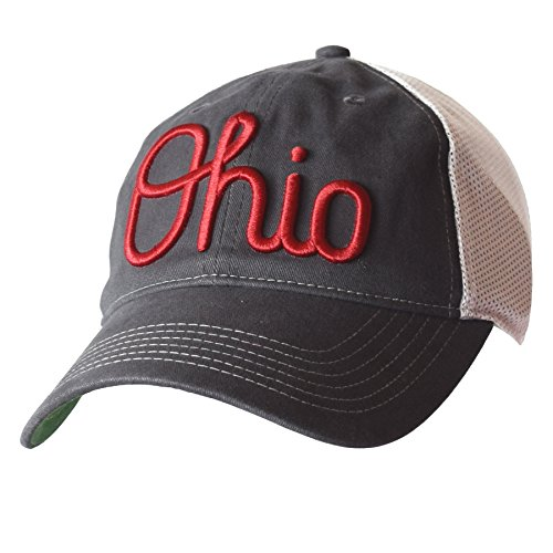 NCAA Ohio State Buckeyes Adult Fired Up Slouch mesh snapback Cap, One Size, Graphite/White