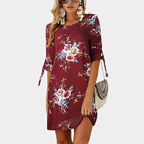 Vestido XINGMU Florales Visten Cortos Fiesta De Vino Estampados Chiffon Estilo Rojo Vestidos De Boho Mujeres Raniego Playa w8gq1r4g