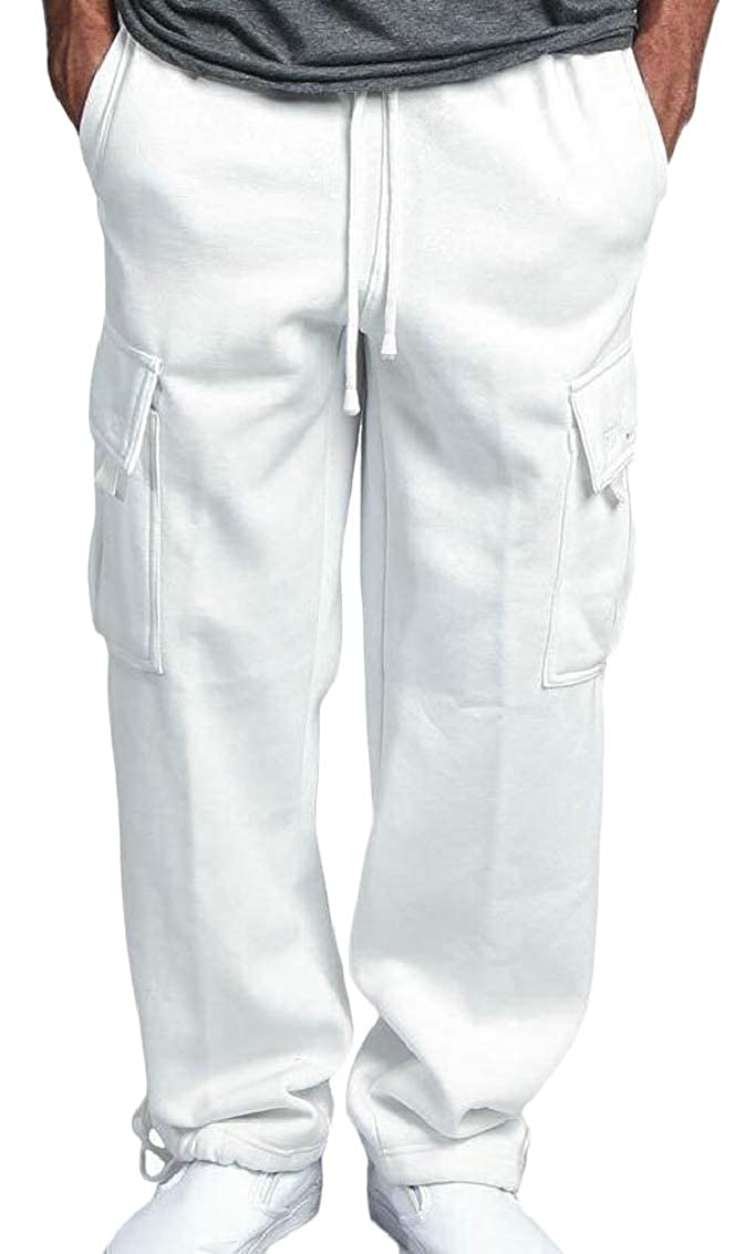 Mens Fashion Plain Drawstring Waist Casual Elastic Waist Trousers Pants