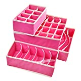 Baost 4Pcs/Set Foldable Drawer Dividers Bra Underwear Closet Storage Box Container Under Bed Organizer for Ties,Belts,Socks,Tank Tops, lingerie,Closet,Wardrobe (Rose-Red)