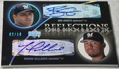 (2007 Exquisite Collection Rookie Signatures Reflections Autographs Silver Spectrum #SG Ben Sheets/Yovani Gallardo 2/10)
