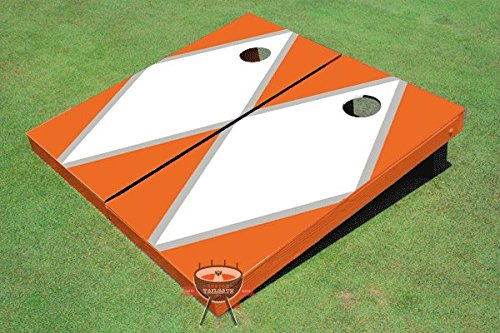 ホワイトとオレンジMatchingダイヤモンドCorn穴ボードCornhole Game Set B00O2A1OLI