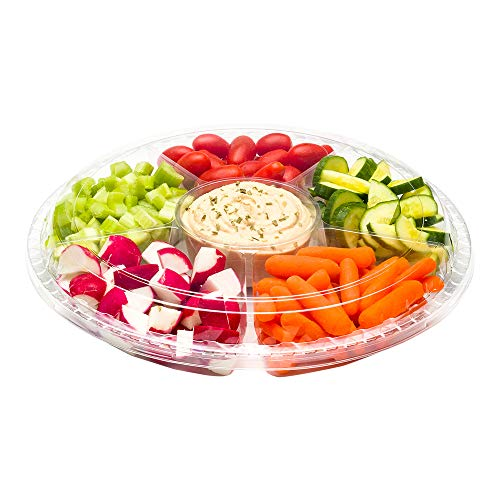 11 Round Platter - Restaurantware RWP0434C Thermo Tek Round Clear Plastic Serving Platter with Lid, 6 Compartments 11 x 19 3/4