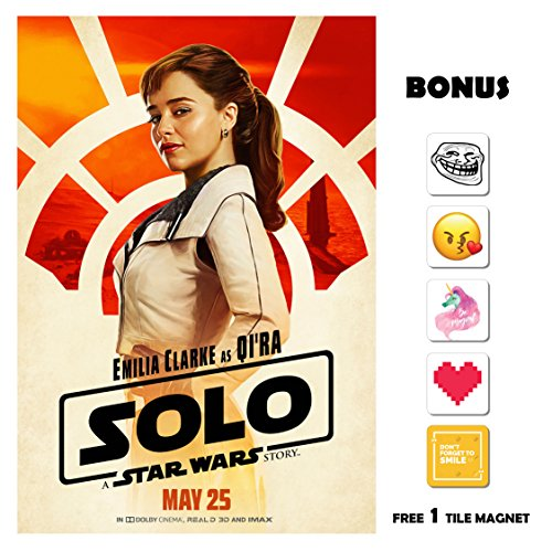 SOLO A Star Wars Story Movie Poster 13 in x 19 in Poster Flyer BORDERLESS - Emilia Clarke as Qi'Ra - Bonus Free 1 Tile Magnet