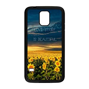 Sunflower TPU Snap on Case Cover For Samsung Galaxy S5-Black/White