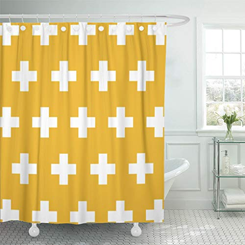 Pattern Yellow Cross (Semtomn Shower Curtain Pattern Swiss Cross in Mustard Yellow and Living Room 66