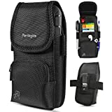 2019 New Magnetic Cover. Belt Holster for iPhone Xs Max, Xr, 8 Plus, 7 Plus with Rugged Type Phone Cases. Dual Directional Zipper Storage and Credit Card Pocket. (Black/Magnetic)