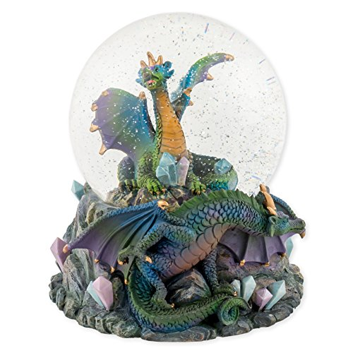 Blue Dragon with Crystals 100mm Resin Glitter Water Globe Plays Tune Now is the (Treasures Musical Figurine)