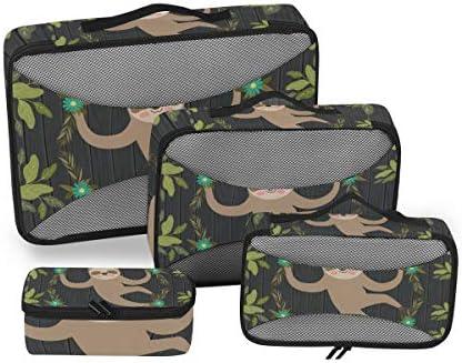 ナマケモノジャングル・グリーンシーン 荷物パッキングキューブオーガナイザートイレタリーランドリーストレージバッグポーチパックキューブ4さまざまなサイズセットトラベルキッズレディース