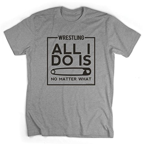 All I Do Is Pin T-Shirt | Wrestling Tees by ChalkTalk SPORTS | Gray | Adult Small