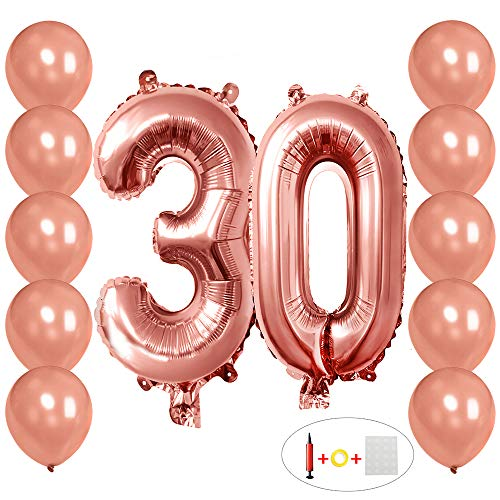 30 Number Balloons Rose Gold 3 and 0 Mylar Balloon with 10Pcs Latex Rose Gold Balloons12 inch for 30th Birthday Party Anniversary Celebrate Party Decorations