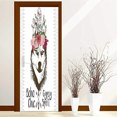 Leighhome 3D Door Murals Stickers Wall Decals Close up Portrait of Siberian Husky Wearing The Indian Feather Headpiece Traditional Boho Door Wall Sticker W30 x H80