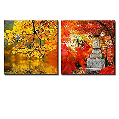 Wonderful Technique, Two Piece Yellow Orange and Red Trees by a Lake Along with a Japanese Statue on 2 Panels, Made For You