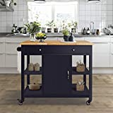 Cheap ChooChoo Kitchen Island Cart with Wood Top-Navy Blue