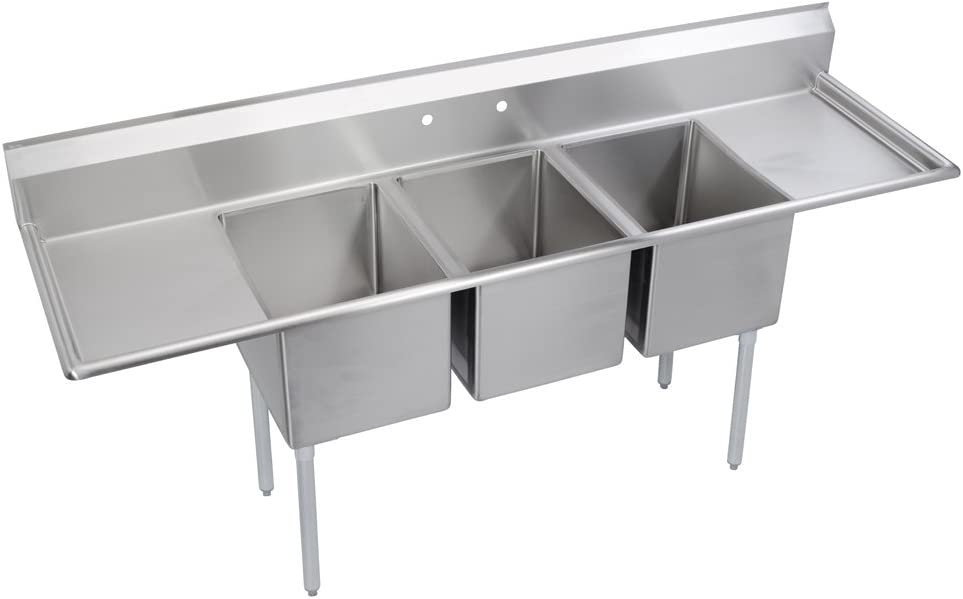 elkay foodservice 3 compartment sink 106  x29 75   oa 36  kitchen sink triple bowl   amazon com  rh   amazon com