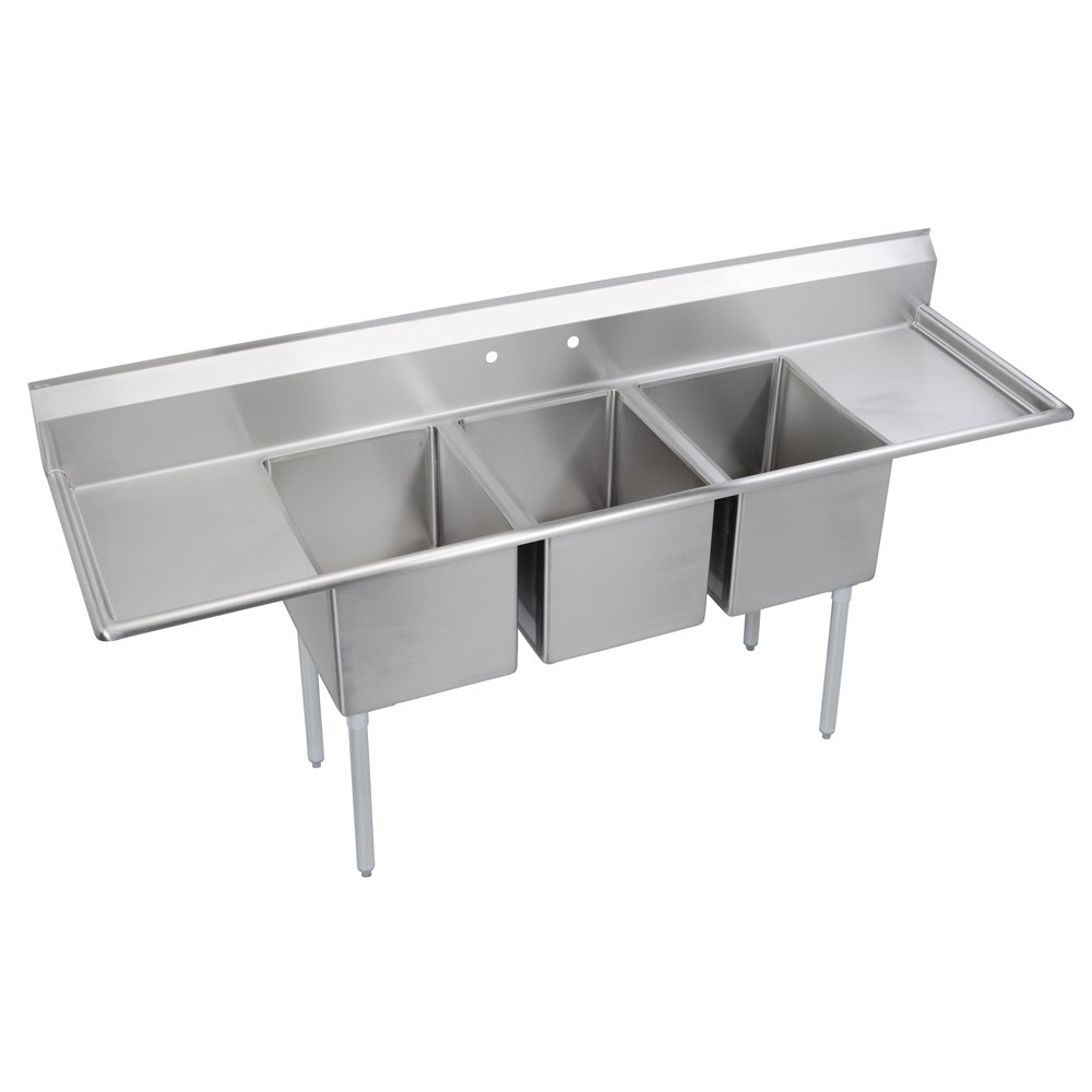 Elkay Foodservice 3 Compartment Sink, 88''X25.75'' OA, 36'' Working Height, 16X20 Bowl, 12 Deep, 9.75'' Backsplash, Left & Right 18'' Drainboards, 8'' On Center Faucet Hole, Galvinized Legs, Adjustable Feet, 18 Gauge 300 Series Stainless Steel, NSF Certified