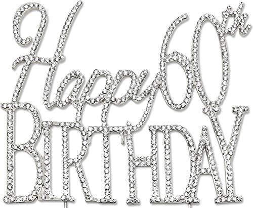 (Happy 60th Birthday Cake Topper, Silver Crystal)