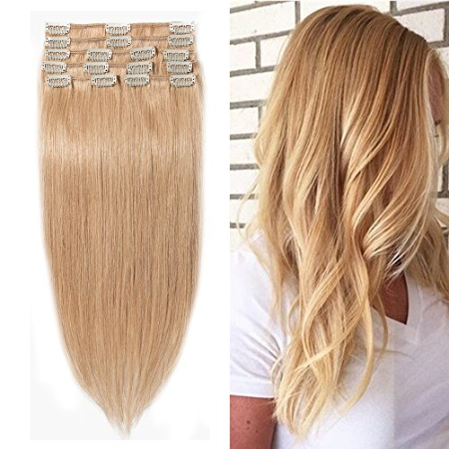 "Clip in 100% Remy Human Hair Extensions #27 Dark Blonde 8""-2"