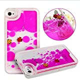 K-fashion ® Ultra New Case for Iphone 5/5s Cool Clear Freely Liquid Swimming Fish Tank Liquid Aquarium Swimming Case Cover for Ihone5, 5s, Floating Funny Moveable Fish Couple Case for Apple Iphone 5 5s with 1 Pcs Fold Bracket for Phone. (Rose red)