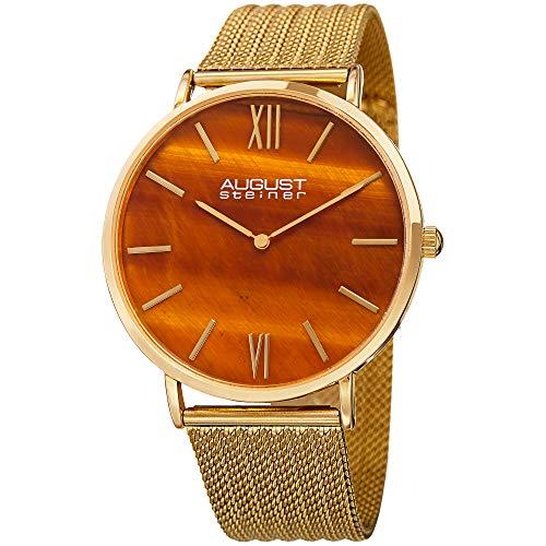 August Steiner Designer Men's Watch – Gold Tone Stainless Steel Mesh Bracelet Band - Glossy Glitter Effect Dial – Japanese Quartz Movement – AS8218YG