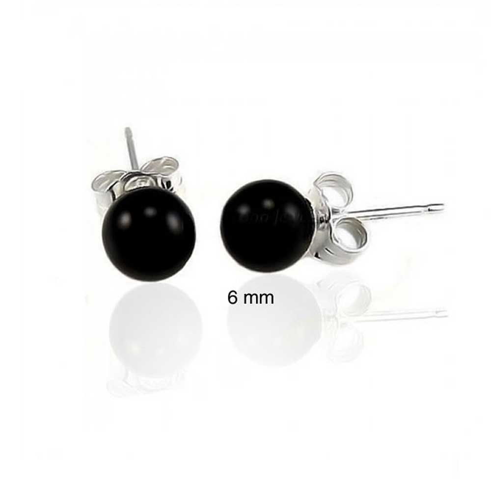 Dyed Black Onyx Ball Stud earrings 925 Sterling Silver 6mm