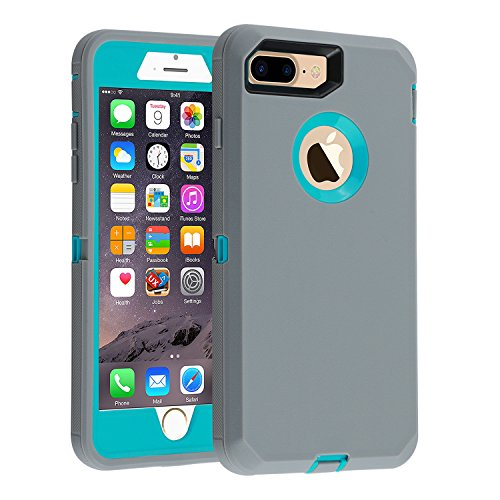 Case for iPhone 7 Plus/8 Plus Heavy Duty Armor 3 in 1 Built-in Screen Protector Rugged Cover Dust-Proof Shockproof Drop-Proof Scratch-Resistant Shell Compatible with Apple iPhone 7+/8+ 5.5,Gray/Blue