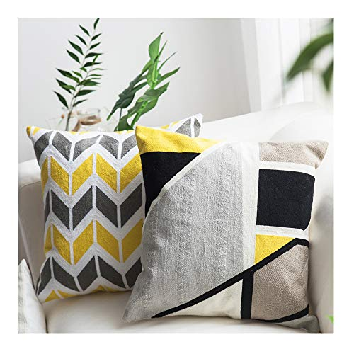 Lananas Pack of 2, Yellow Grey Decorative Square Throw Pillow Covers Set Geometric Cushion Case for Couch, Sofa, Bedroom 18 x 18 Inch 45 x 45 cm (Black-Yellow)