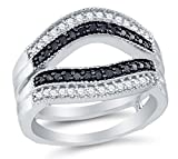 Size 9.5 - 10K White Gold Black & White Round Diamond Ring jacket Fashion Ring - Channel Setting (.55 cttw.)